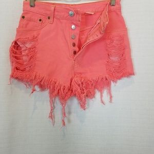 Levi's | 501 Vintage Coral Pink Distressed Shorts